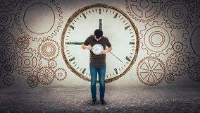 Time management and planning concept. Schedule efficiency metaphor, surrounded by gears cog wheels stock image