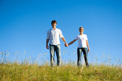 Full-length portrait young couple Royalty Free Stock Images
