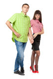 Full-length portrait of a young couple in love Stock Image
