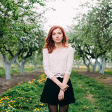 Full length portrait of a young cute redhead woman in a apple orchard. Full length portrait of a young cute redhead woman in a blooming apple garden Royalty Free Stock Photo