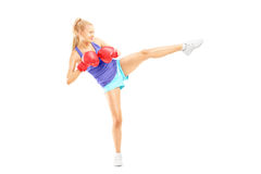 Full length portrait of a young female with boxing gloves hittin Royalty Free Stock Photography