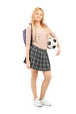 Full length portrait of a young female student with bag  Royalty Free Stock Photography