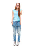 Full length portrait of young girl in casual clothing isolated Stock Photos