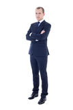 Full length portrait of young handsome man in business suit isol Stock Photos