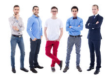 Full length portrait of young handsome men isolated on white Royalty Free Stock Photos