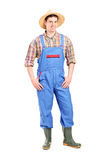 Full length portrait of a young male farmer smiling Royalty Free Stock Photos