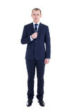 Full length portrait of young male reporter with microphone isol Royalty Free Stock Photo