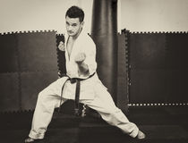 Full length portrait of young man in kimono training karat. E at the gym Stock Photos