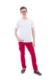 Full length portrait of young man standing isolated on white Royalty Free Stock Photography