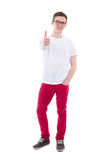 Full length portrait of young man thumbs up isolated on white. Background Stock Images