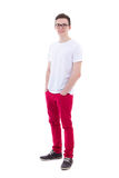Full length portrait of young man in white t-shirt isolated on w Stock Photo