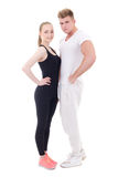 Full length portrait of young sporty man and woman in sportswear Royalty Free Stock Photo
