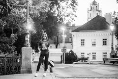 Full length portrait of young teen girl. In Lithuania, Vilnius. Monochrome picture royalty free stock photo