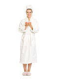 Full length portrait of young woman in bathrobe Stock Photo