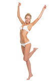 Full length portrait of young woman in lingerie dancing Royalty Free Stock Photos