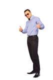Full length portrasit of stylish young man thumbs up white backg. Full length portrait of stylish young man thumbs up Royalty Free Stock Images