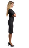 Full length profile portrait of a beautiful businesswoman. Isolated on white royalty free stock photo