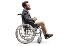 Young man in a wheechair royalty free stock images