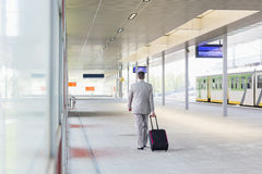 Full length rear view of businessman with luggage walking in railroad platform Stock Photo