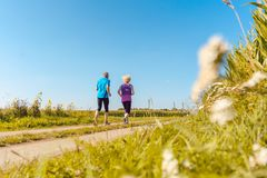 Two healthy senior people jogging on a country road in summer royalty free stock images