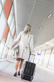 Full length rear view of young businesswoman with luggage walking in railroad station Royalty Free Stock Photography