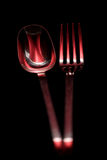 Full Length Red Spoon and Fork Royalty Free Stock Photography