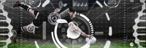 Composite image of full length of rugby player scoring goal. Full length of rugby player scoring goal against rugby pitch Royalty Free Stock Photo