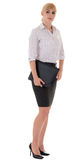 Full-length serious woman with folder Royalty Free Stock Photo