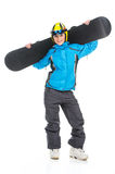 Full length shoot of young female snowboarder. Posing on camera isolated over white background stock photography