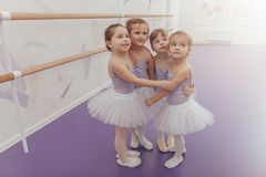 Lovely little ballerinas at the dance studio stock photo