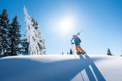 Skier resting on top of the mountain. Full length shot of a male skier on top of the mountain with his skis on his shoulder on a sunny winter day sunlight nature Royalty Free Stock Images