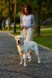 Full-length shot of pretty healthy young lady walking in the morning in park with dog Stock Image