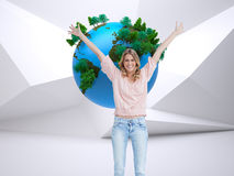 Full length shot of a smiling woman with her arms raised up Stock Photography