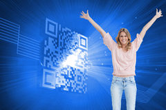 Full length shot of a smiling woman with her arms raised up Stock Images