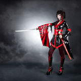 Full length shot of warrior girl stock photos