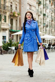 Full length shot of woman with purchases Stock Photography