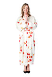 Full length shot of woman welcoming you. Dressed in fashionable attire Royalty Free Stock Photo