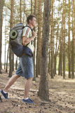 Full length side view of male hiker with backpack walking in forest Royalty Free Stock Photo
