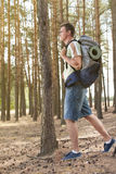 Full length side view of male hiker with backpack walking in forest Stock Photo