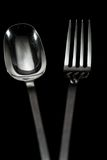 Full Length Silver Spoon and Fork Stock Photography