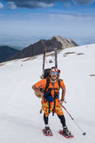 Full length of skier skiing on fresh powder  snow Stock Images