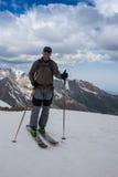 Full length of skier skiing on fresh powder  snow Stock Photography