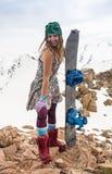 Full length of skier skiing on fresh powder  snow Royalty Free Stock Photography