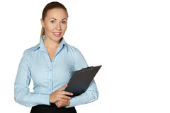 Full length of smiling woman making notes Royalty Free Stock Photos