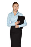 Full length of smiling woman making notes Stock Image