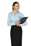 Full length of smiling woman making notes Stock Photos