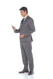 Full Length Snap Figure, Business Man Stand in Gray Suit pants a Stock Photos