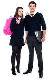 Full length snap shot of cheerful classmates Royalty Free Stock Photo
