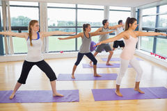 Full length of sporty people stretching hands at yoga class Royalty Free Stock Image