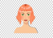 Beautiful redhead girl with green eyes and magnificent bob hairstyle ginger color hair. Portrait isolated on transparent background vector illustration